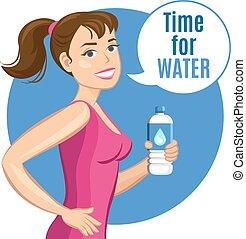 Kartoon-Frau mit einer Flasche Wasser, gesundes Getränk und Fitness-Konzept. Vector Illustration.