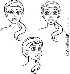 Kartoon-Frauengesicht.