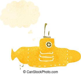 Kartoon gelbes U-Boot.