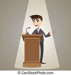 Kartoon-Geschäftsmann, der über Podium redet.