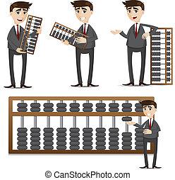 Kartoon-Geschäftsmann mit Abacus-Set.