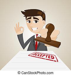 Kartoon-Geschäftsmann mit akzeptiertem Dokument.