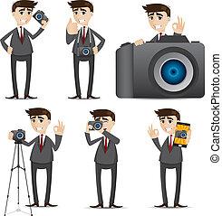 Kartoon-Geschäftsmann mit Kamera Dslr.