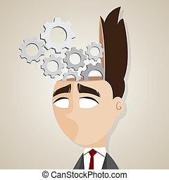 Kartoon-Geschäftsmann mit mechanischem Gehirn.