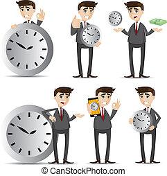 Kartoon-Geschäftsmann mit Uhrenset.