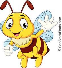 Kartoon glückliche Biene winken Hand.