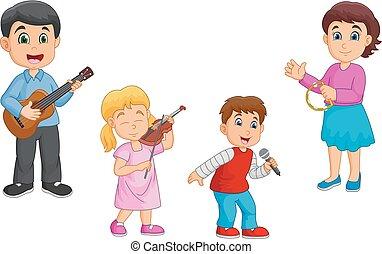 Kartoon glückliche Familie, die zusammen Musik spielt.