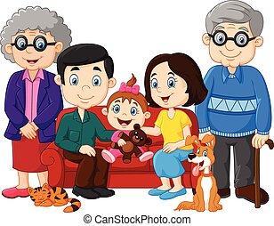 Kartoon glückliche Familie isoliert.