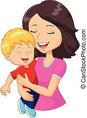 Kartoon glückliche Familie Mutter hält.