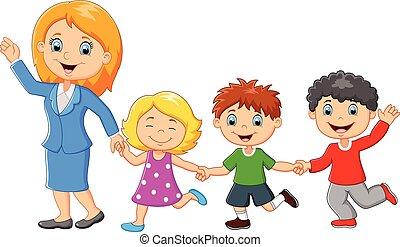 Kartoon glückliche Familie.