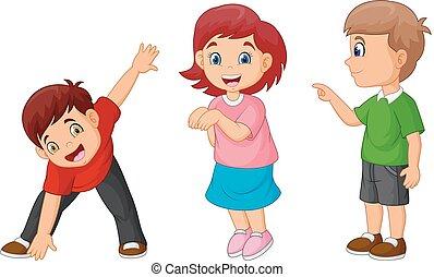 Kartoon glückliche Kinder.