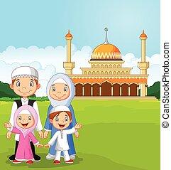 Kartoon glückliche Moslem-Familie.