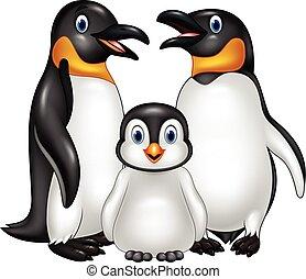 Kartoon glückliche Pinguin Familie isoliert auf weißem Hintergrund.