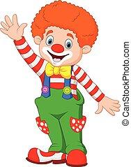 Kartoon glücklicher Clown mit der Hand.