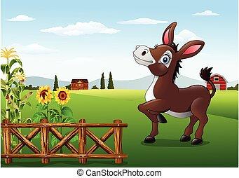 Kartoon, glücklicher Esel mit Bauernhof zurück.