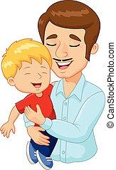 Kartoon glücklicher Familienvater hält.