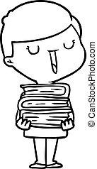 Kartoon glücklicher Junge mit vielen Büchern.