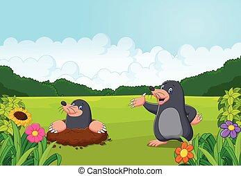Kartoon glücklicher Maulwurf im Wald.