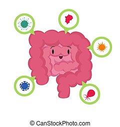 Kartoon glücklicher menschlicher Darm mit guten mikroskopischen Bakterien Medizinprobiotika vektor Konzept