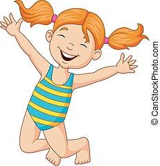 Kartoon glückliches Mädchen in einem Badeanzug.