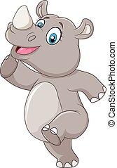 Kartoon glückliches Nashorn, das isoliert posiert.