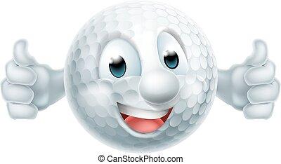 Kartoon Golfballmaskottchen.