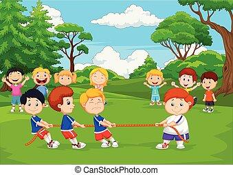 Kartoon Gruppe von Kindern, die im Park Tug des Krieges spielen.