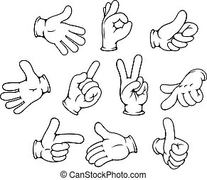 Kartoon-Handgesten bereit.