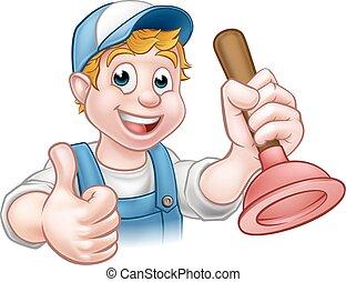 Kartoon-Handwerker, Klempner mit Taucher.
