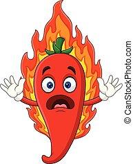Kartoon heißen Chili Pfeffer.