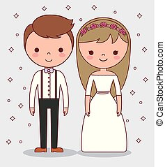 Kartoon-Hochzeitspaar-Ikone.