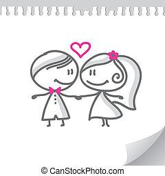 Kartoon-Hochzeitspaar.