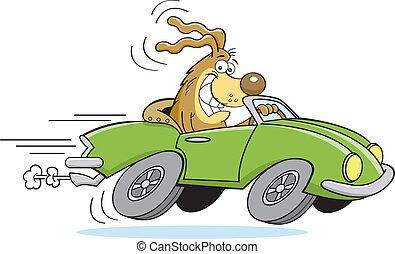 Kartoon-Hund fährt ein Auto.