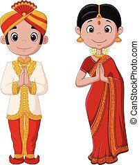 Kartoon-Indianer mit traditionellem Kostüm.