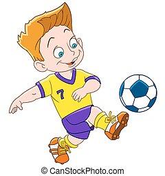 Kartoon-Junge Footballspieler