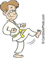 Kartoon-Junge im Karate-Anzug.