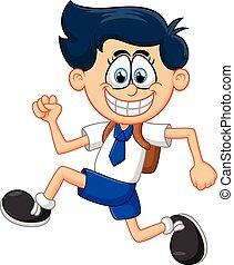 Kartoon-Junge läuft.