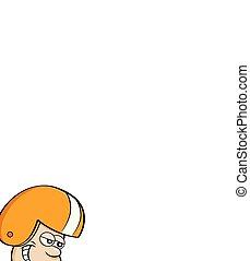 Kartoon-Junge läuft mit einem Football.