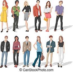 Kartoon junge Leute.