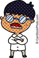 Kartoon-Junge mit gekreuzten Armen mit Brille.