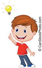 Kartoon-Junge mit großer Idee.