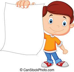Kartoon-Junge mit leerem Papier.