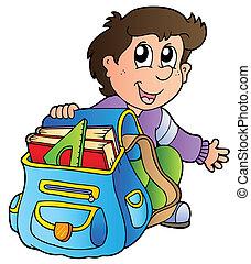 Kartoon-Junge mit Schultasche.
