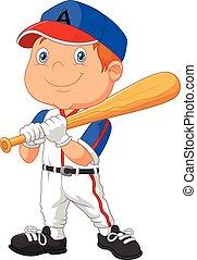 Kartoon-Junge spielt Baseball.
