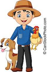 Kartoon junger Farmer mit Hen und Hund