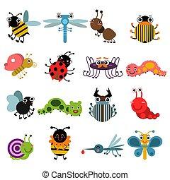 Kartoon Käfer und Insekten. Vector Illustration isoliert auf weißem Hintergrund