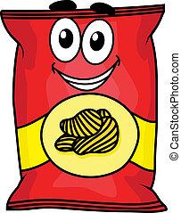 Kartoon-Kartoffelchips.