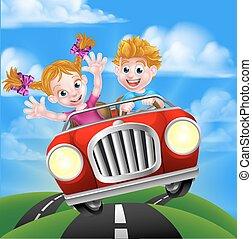 Kartoon-Kids fahren Auto.