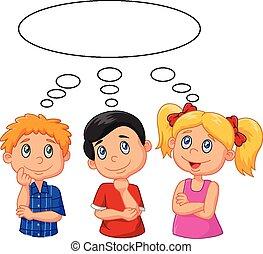 Kartoon Kinder denken mit weißem Bu.