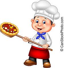 Kartoon-Koch mit Pizza.